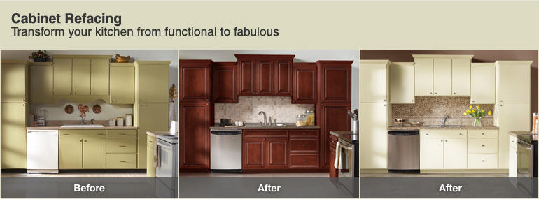 before and after cabinet refacing home