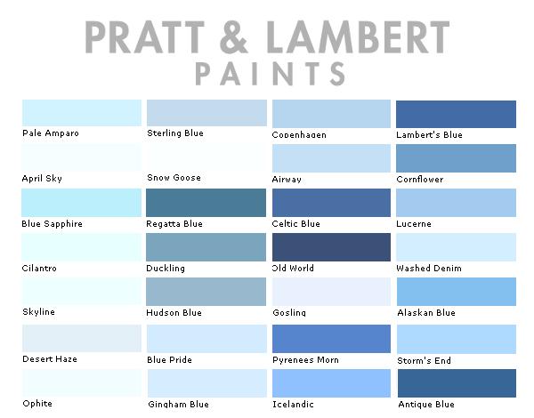 Pratt and Lambert Paint Colors Chart