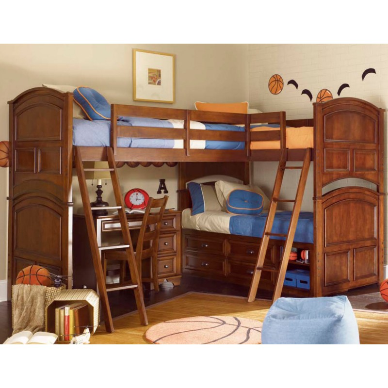 Triple Bunk Bed Plans with Stairs and Desk