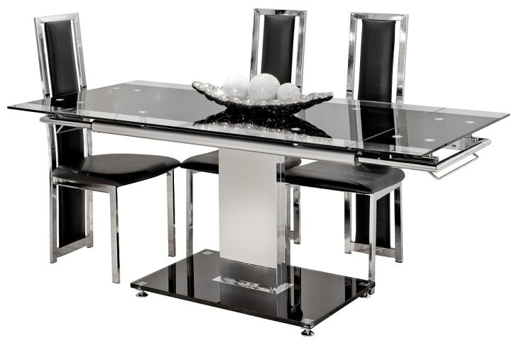 Glass Dining Table Sets Extending Black and Clear