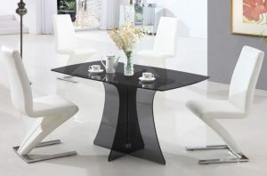 Glass Dining Table Sets Serena Smoked