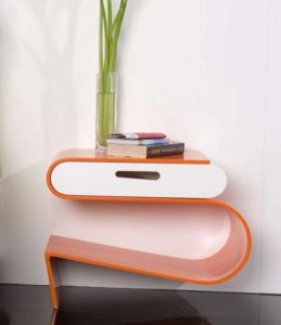 Nightstand with Unique Shaped Contemporary
