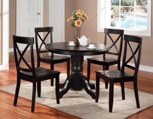 Pedestal Dining Table Set Black