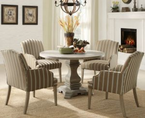 Pedestal Dining Table Set Euro Casual 5 Piece Round