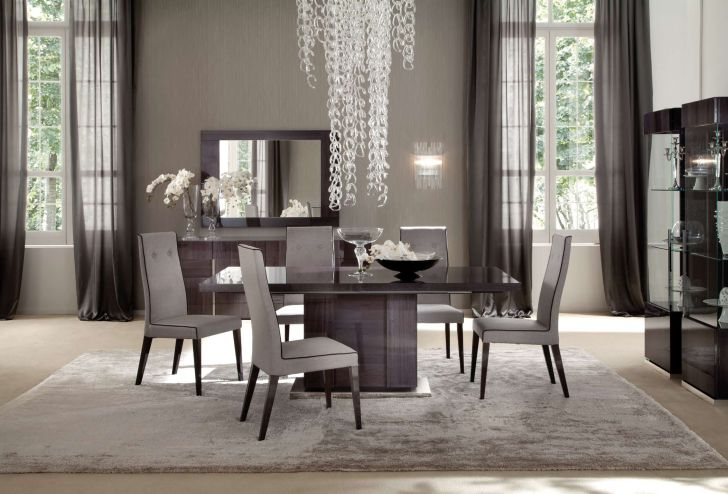 Pedestal Dining Table Set European Modern with 4 Chairs