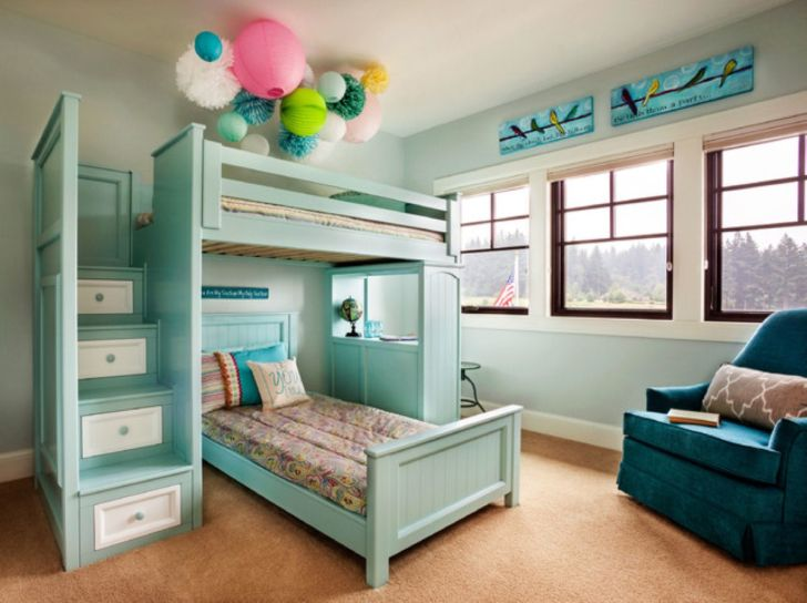 Triple Bunk Bed Plans with Small Stairs Storage Drawer