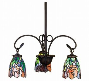 Tiffany Floral Iris 3 Lt Stained Glass Chandelier