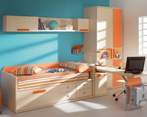 Bedroom Furniture Small Spaces with Orange Accent in White and Soft Blue Color Combination