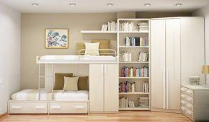 Creamy Wall Themed Bedroom Space Saving Ideas with Bookshelf