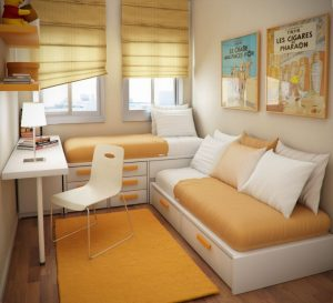 Orange and White Kids Bedroom Ideas with Cool Space Saving Furniture