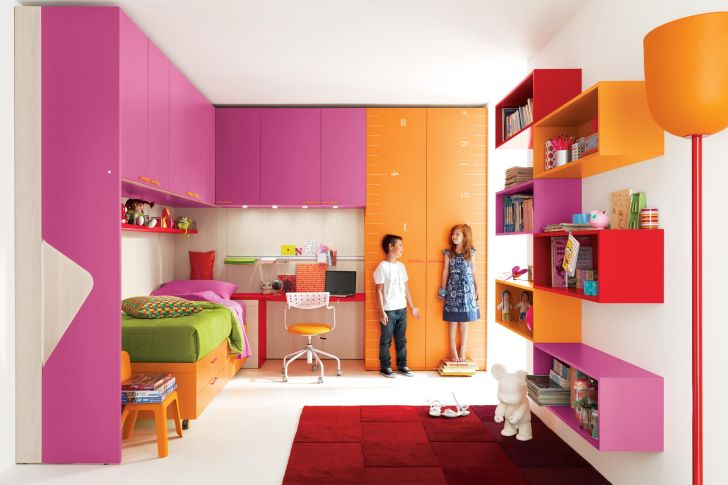 Teens Room Design with Mix Colored Furniture
