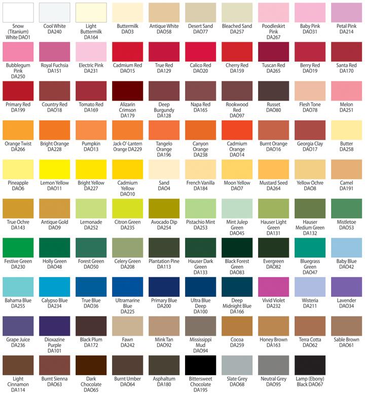 Americana Acrylic Paint Color Chart