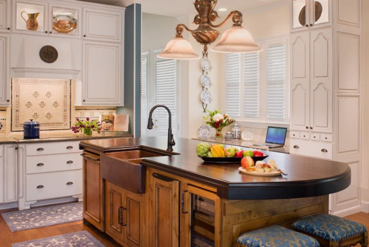 Country Wooden Countertop of Kitchen Island