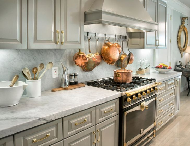 Elegant Kitchen Space with Brass Decoration