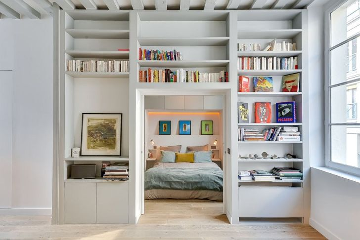 Entry of the Bedroom Goes Through the Library Wall Feature