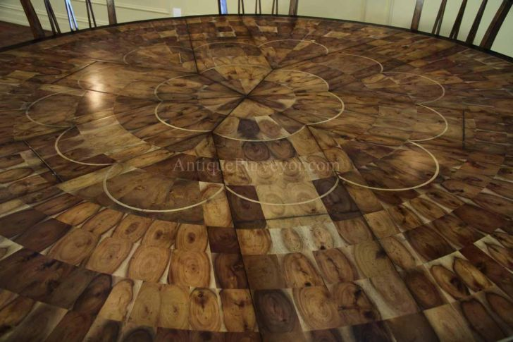 Large Round Walnut Dining Room Table with Leaves
