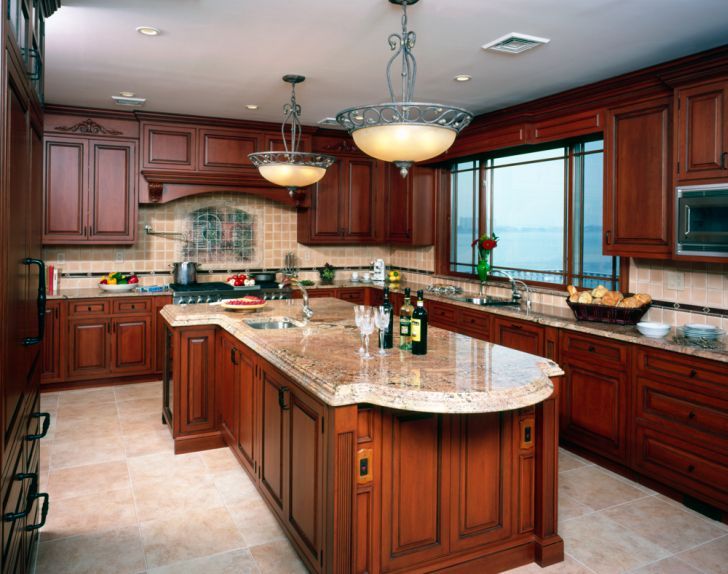 Rustic Cherry Wood Kitchen Cabinets
