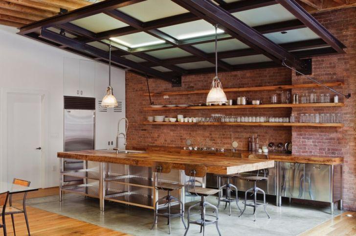 Stainless Steel Kitchen Industrial Wood Brick