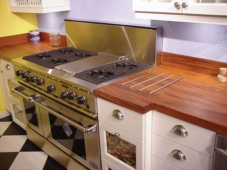 Teak Countertop with Set Down Rods
