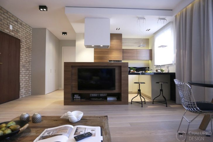 Modern Industrial Living Room Apartment Combine with Kitchen