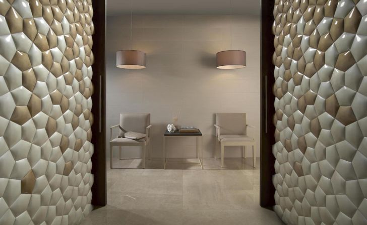 The Kin Ceramic Wall Covering Shines Under the Light