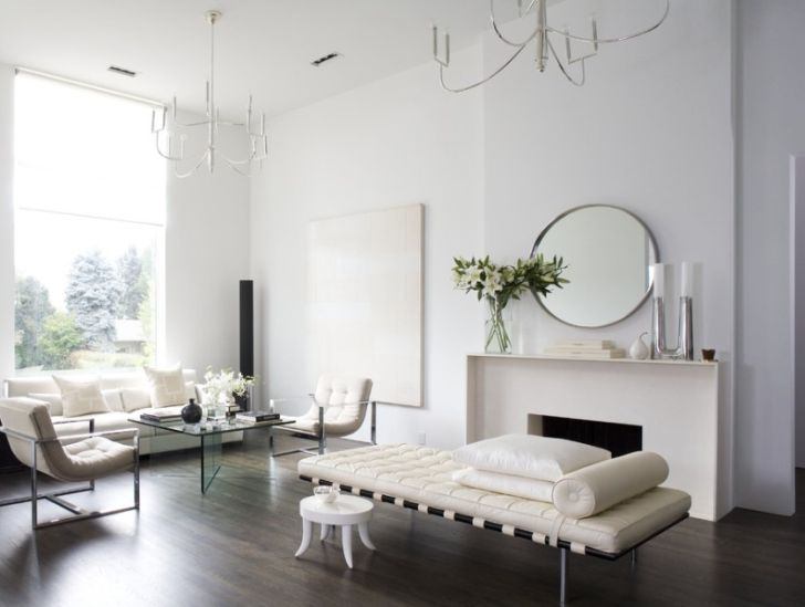 All White Minimalist Living Room with Wood Flooring