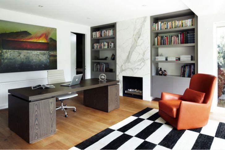 Contemporary Office Shelves Chair Desk Flooring
