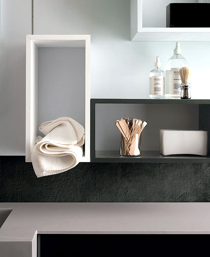 Magnetika Wall System as bathroom Storages
