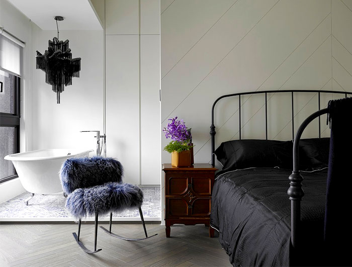 Master Bedroom with Bathub by Studio Ganna Design