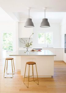 grey and white kitchen Simple White Kitchen Cabinets Pine Floors 30