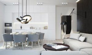 grey and white kitchenWhite Kitchen Contemporary Light Floors 02