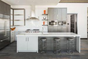 grey and white kitchen White and Steel Contemporary Kitchen Dark Grey Wood Floors 09
