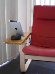 an armrest added to ikea poang chair