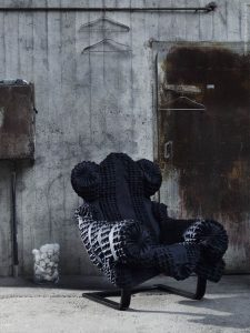black and soft moody reupholstered ikea poang chair