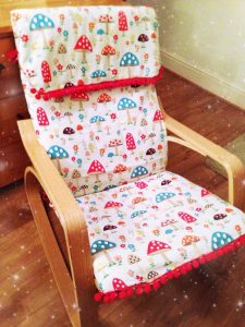 ikea poang chair reupholstered for a nursery