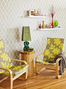 ikea poang chair with fall inspired leaf