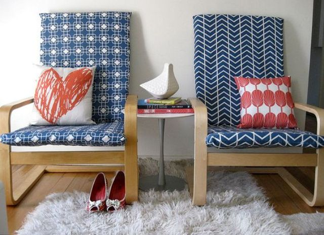 Patterned Navy Slipcovers for Ikea Poang Chair