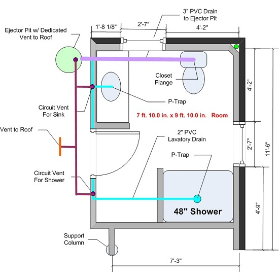 How to Plumb a Basement Bathroom Diagram