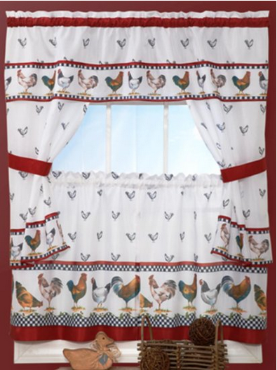 White Kitchen Curtain Swags