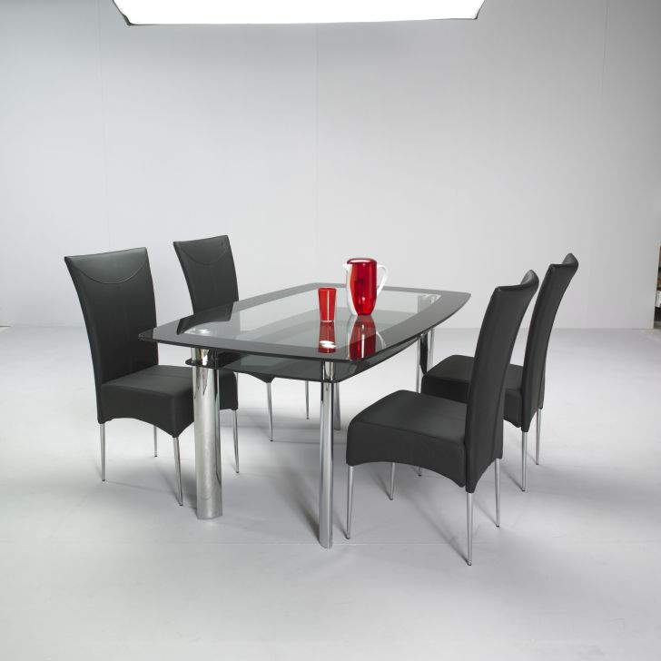 Glass Dining Table Sets High Back Curved