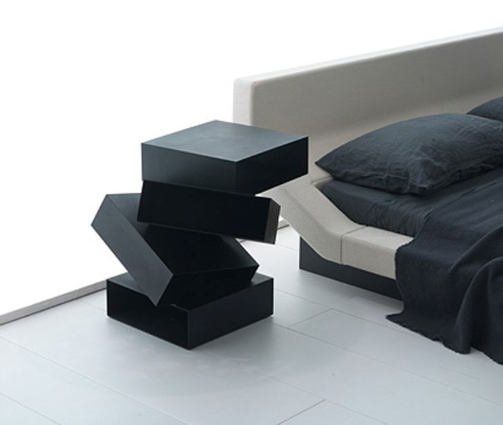 Nightstand with Unique Black Square Bedside Table Design