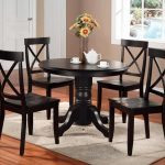 Pedestal Dining Table Set Black