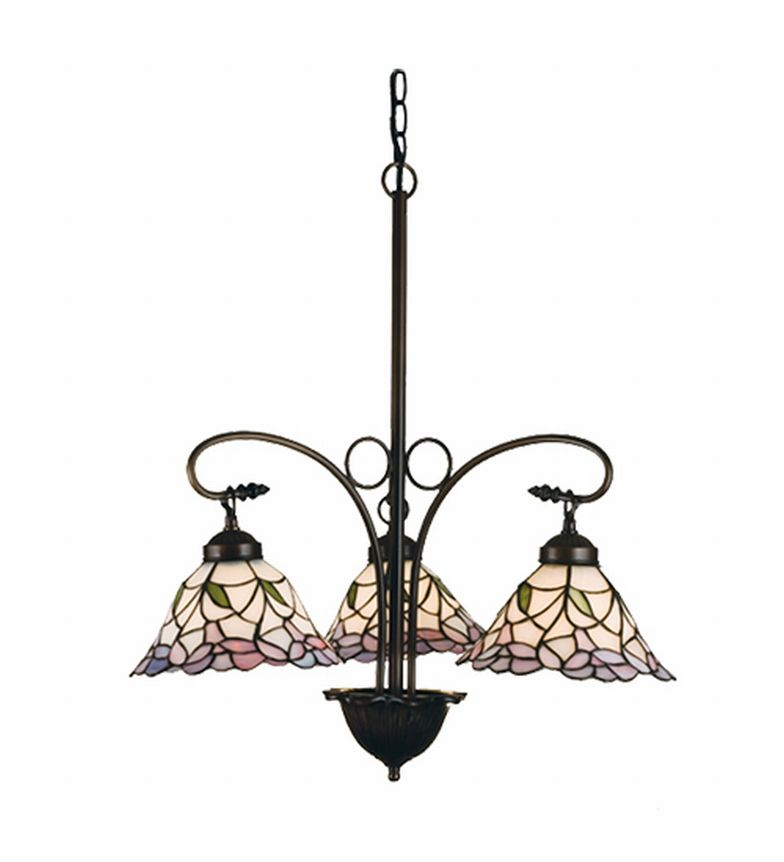 Floral Daffodil Bell 3 Lt Stained Glass Chandelier