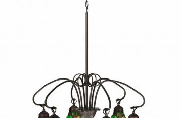 Victorian Floral Iris 6 Lt Stained Glass Chandelier